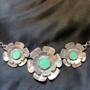 Lia Sophia silver tone/mint green necklace